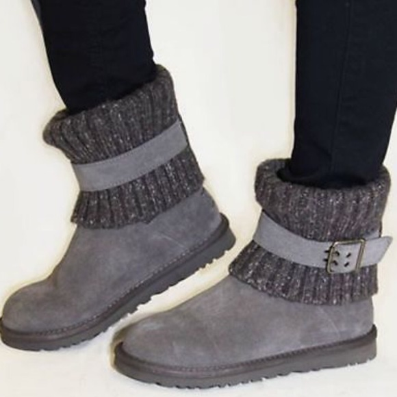f49a8eaddc7 NEW UGG Cambridge Buckle Folder Over Knit Boots